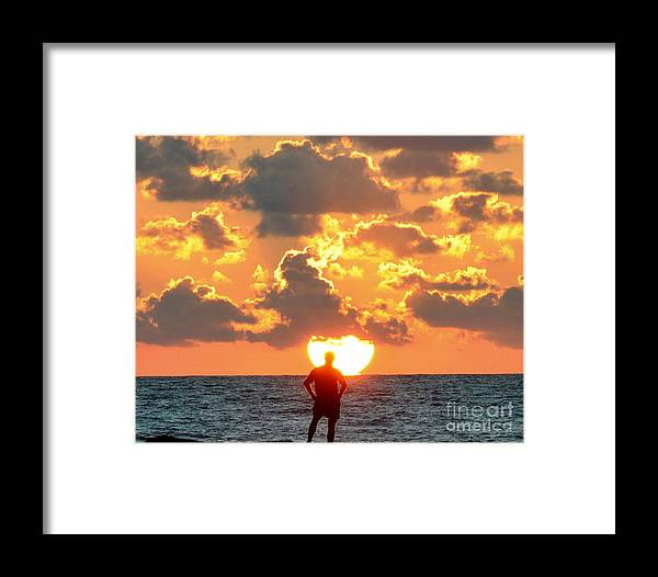 Man Framed Print featuring the photograph Man In Sunrise by David Call