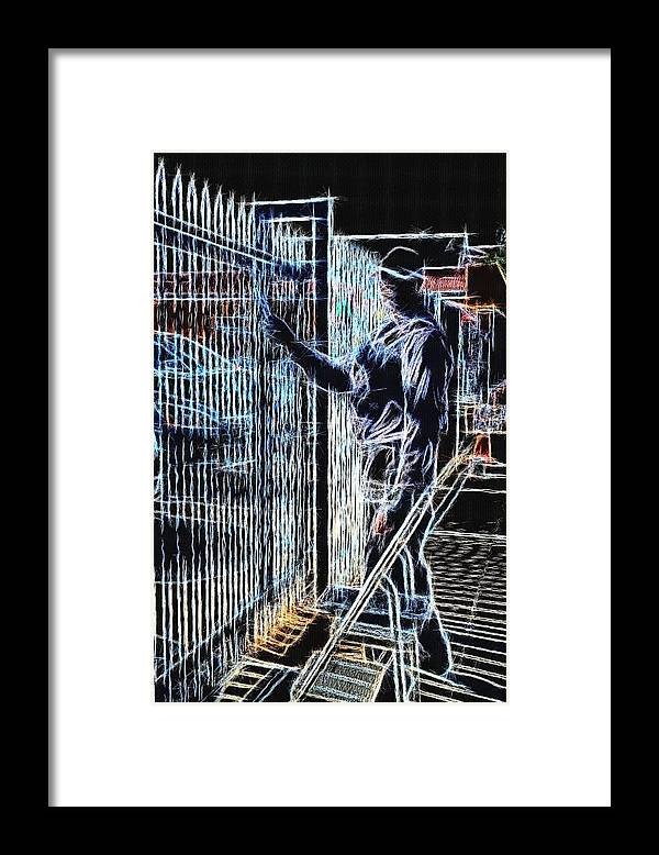 Surrealism Framed Print featuring the photograph Man Painting Fence / Crayola Effect by Robert Butler
