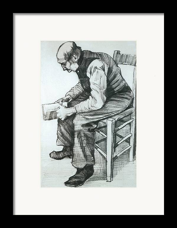 Man Reading The Bible Framed Print featuring the drawing Man Reading The Bible by Vincent van Gogh