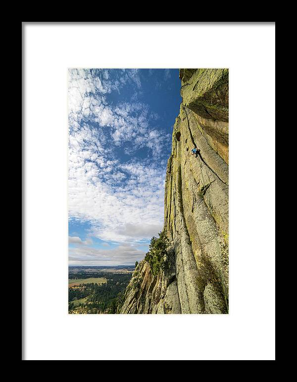 Landscape Framed Print featuring the photograph Man Rock Climbing At Devils Tower by Bennett Barthelemy