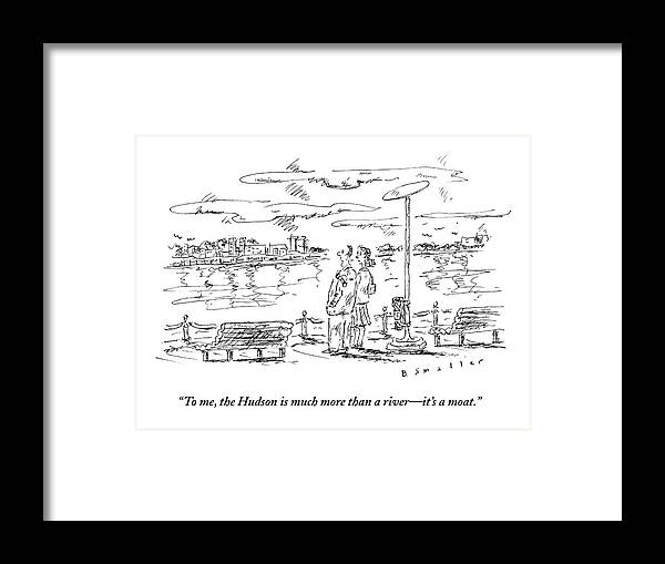Hudson Framed Print featuring the drawing Man Speaks To Woman As They Look by Barbara Smaller