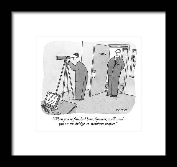 Spy Framed Print featuring the drawing Man Stares At Wall With Telescope by Peter C. Vey