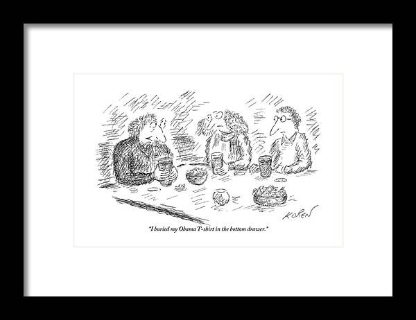 Man Talking To Two People At A Table Framed Print by