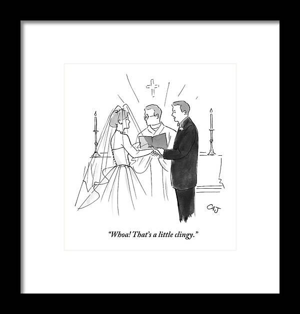Man To Wife During Wedding Vows Framed Print by Carolita Johnson