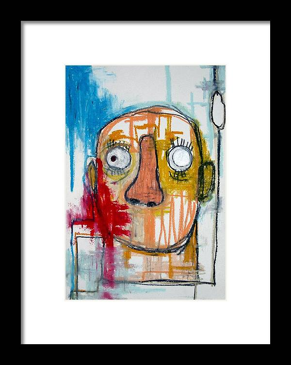 Paper Framed Print featuring the painting Man Who Does Not Tell by Norio Shiraishi