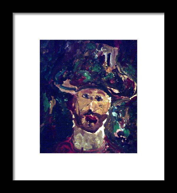 White Framed Print featuring the painting Man With A Hat by Shea Holliman