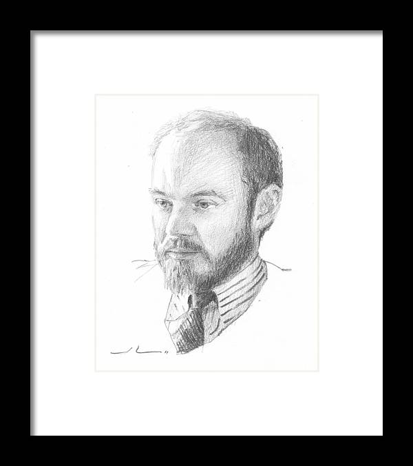 <a Href=http://miketheuer.com Target =_blank>www.miketheuer.com</a> Man With Beard Pencil Portrait Framed Print featuring the drawing Man With Beard Pencil Portrait by Mike Theuer