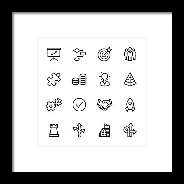 Coin Framed Print featuring the drawing Management - Outline Icon Set by Lushik