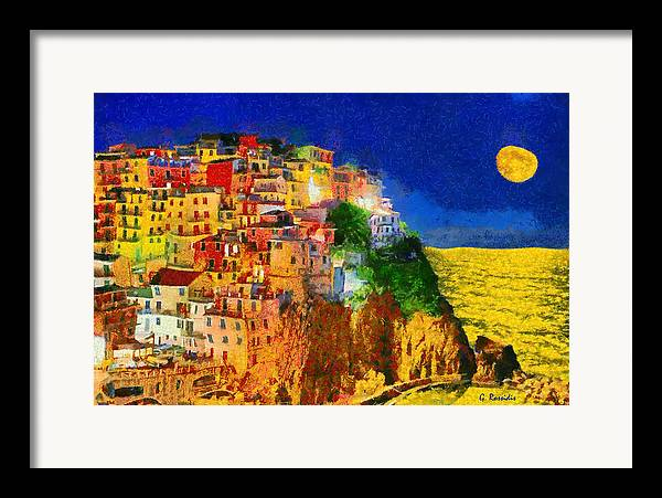 Rossidis Framed Print featuring the painting Manarola By Night by George Rossidis