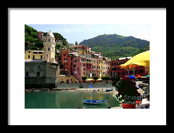 Cinque Terre Italy Framed Print featuring the photograph Waterfront - Vernazza - Cinque Terre - Abstract by Jacqueline M Lewis