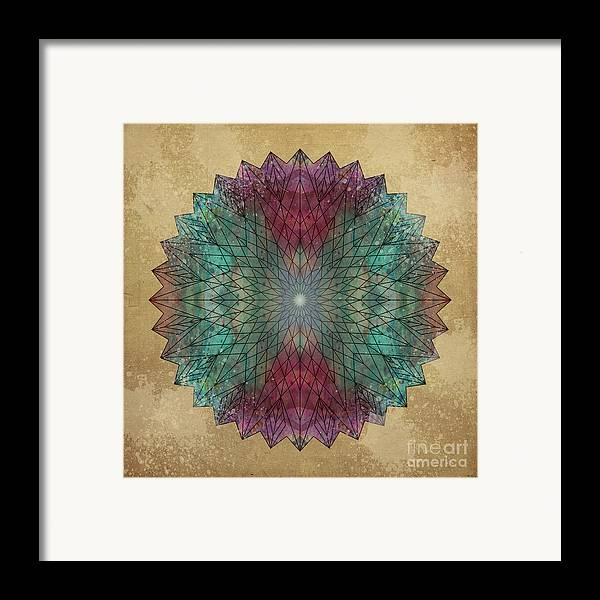 Mandala Framed Print featuring the digital art Mandala Crystal by Filippo B