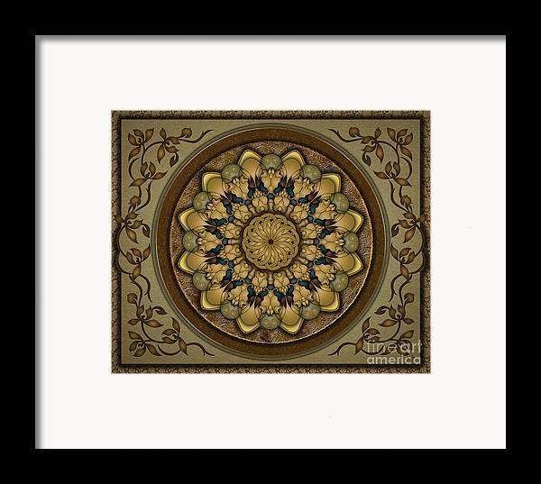 Mandala Framed Print featuring the digital art Mandala Earth Shell Sp by Bedros Awak