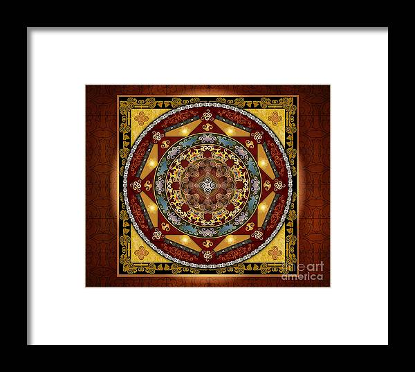 Digital Framed Print featuring the digital art Mandala Oriental Bliss Sp by Peter Awax