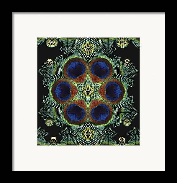 Mandala Framed Print featuring the digital art Mandala Peacock by Nancy Griswold