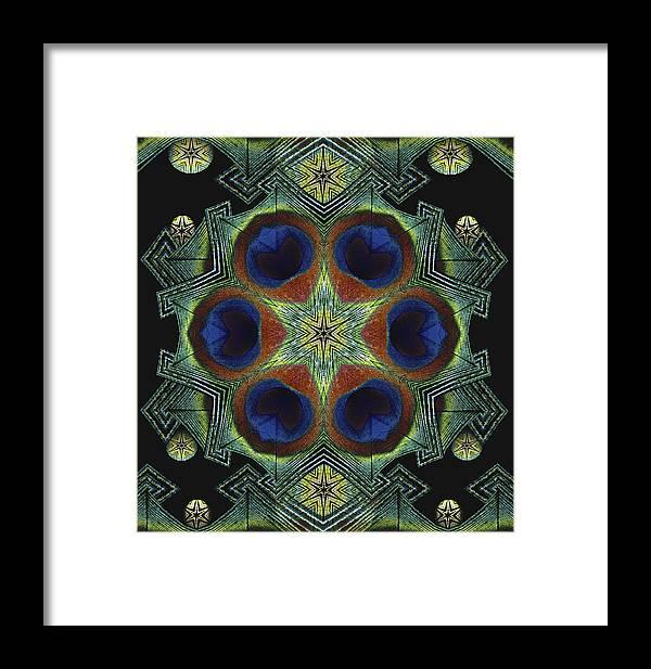 Mandala Framed Print featuring the digital art Mandala Peacock by Nancy Griswold