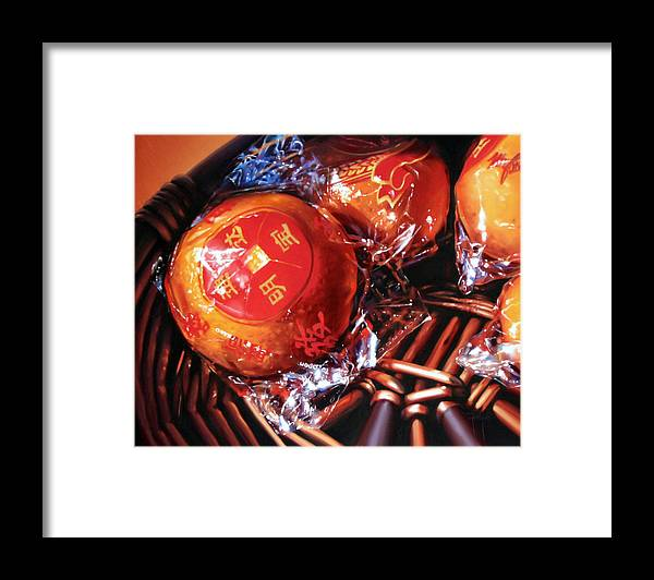 Mandarins Framed Print featuring the painting Mandarins in Cello Packets by Dianna Ponting