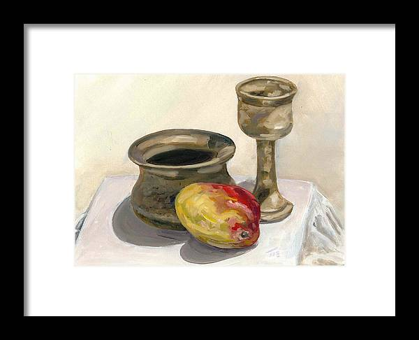 Painting Framed Print featuring the painting Mango Study by Michael Marcotte
