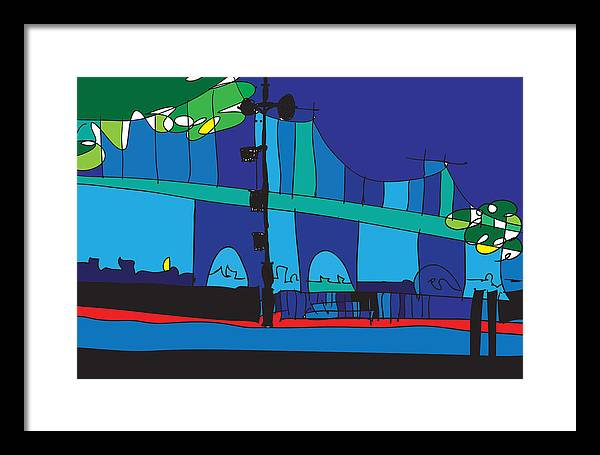 Abstract Art Paintings Framed Print featuring the digital art Manhattan by Abstract Art By Daville