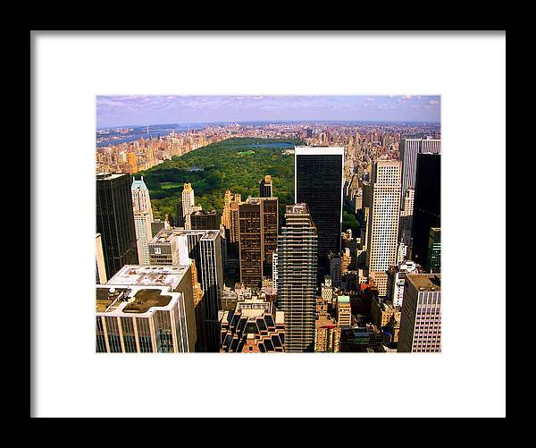 Manhattan Prints Framed Print featuring the photograph Manhattan And Central Park by Monique's Fine Art
