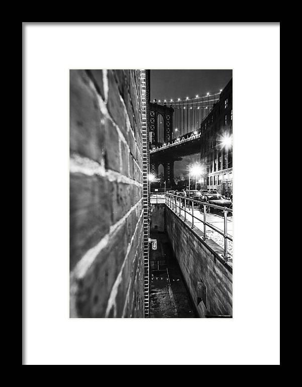 Manhattan Framed Print featuring the photograph Manhattan Bridge by Alex Potemkin
