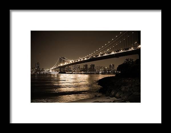 Manhattan Bridge Framed Print featuring the photograph Manhattan Bridge At Night II by Vitaly Levin