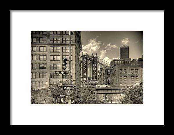 New York Framed Print featuring the photograph Manhattan Bridge Peeking Through by Jeff Watts