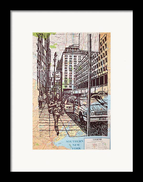 Nyc Framed Print featuring the drawing Manhattan On Map by William Cauthern