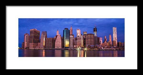 Manhattan Framed Print featuring the photograph Manhattan Skyline At Sunrise by John McGraw