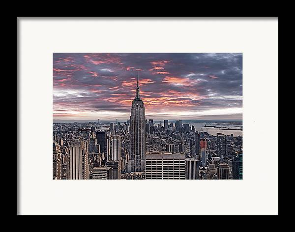 Manhattan Framed Print featuring the photograph Manhattan Under A Red Sky by Joachim G Pinkawa