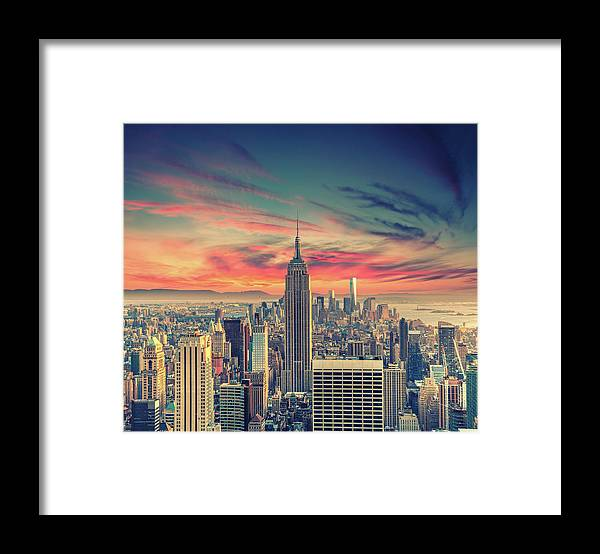 Panoramic Framed Print featuring the photograph Manhattan by Zsolt Hlinka