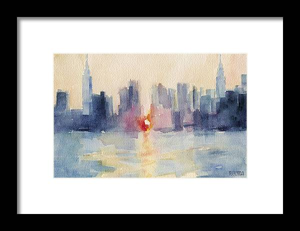 New York Framed Print featuring the painting Manhattanhenge New York Skyline Painting by Beverly Brown