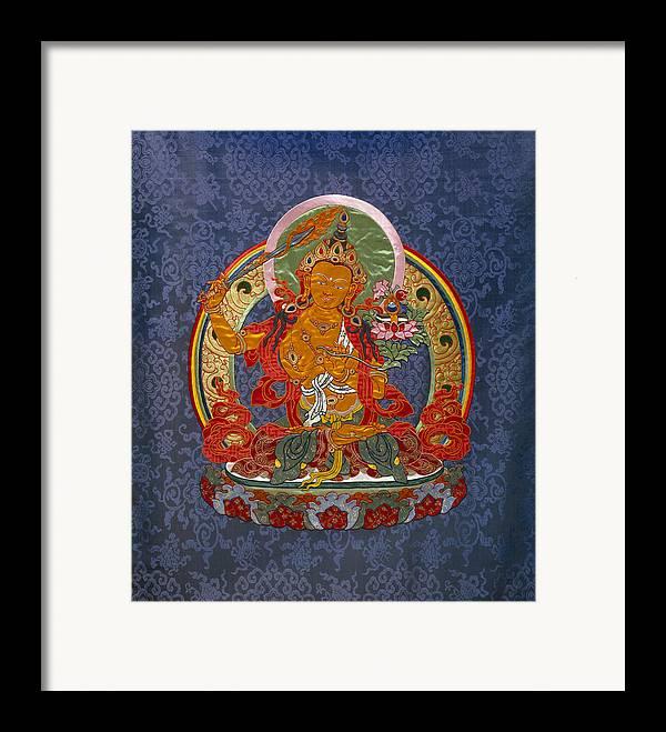 Manjushri Framed Print featuring the tapestry - textile Manjushri by Leslie Rinchen-Wongmo