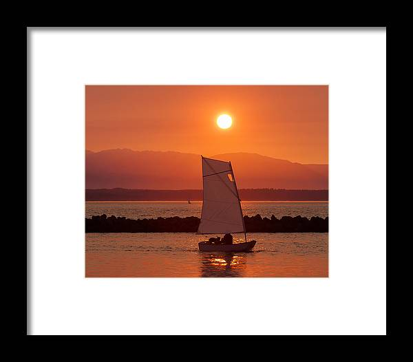 Sunset Framed Print featuring the photograph Mans Best Friend by Scott Campbell
