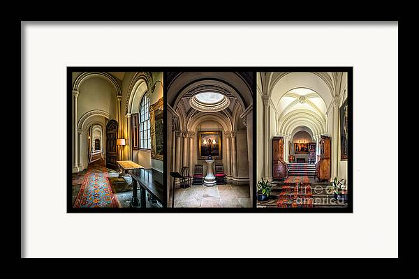 British Framed Print featuring the photograph Mansion Hallway Triptych by Adrian Evans