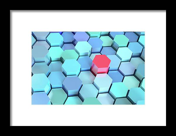 Grid Framed Print featuring the photograph Many Blue Hexagons, Various Heights by Dimitri Otis