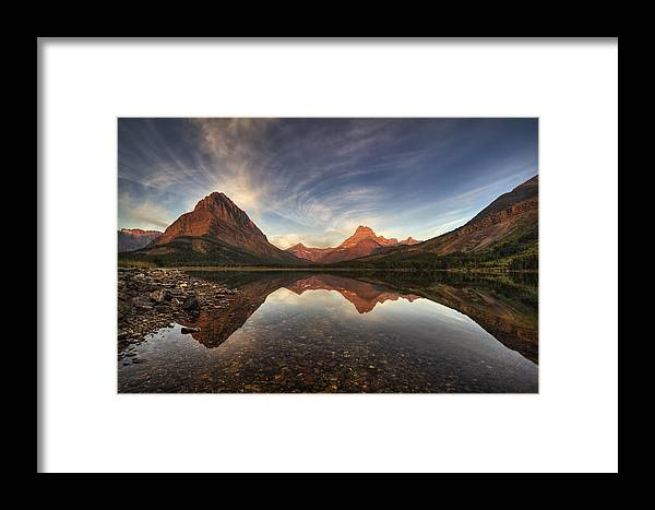 Sunrise Framed Print featuring the photograph Many Glacier Zen by Mark Kiver
