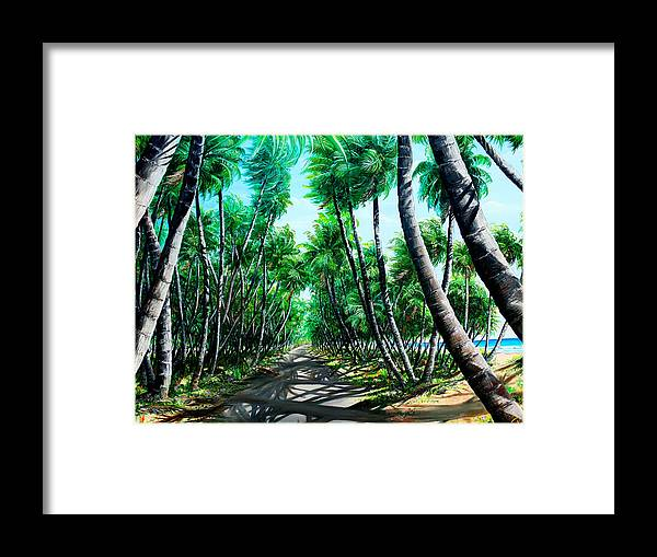 Coconut Trees Framed Print featuring the painting Manzanilla Coconut Estate by Karin Dawn Kelshall- Best
