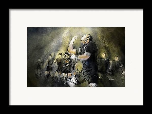 All Blacks Framed Print featuring the painting Maori Haka by Miki De Goodaboom