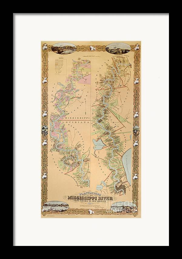 Map Depicting Plantations On The Mississippi River From Natchez To New Orleans Framed Print featuring the drawing Map Depicting Plantations On The Mississippi River From Natchez To New Orleans by American School