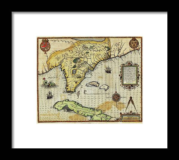 Map Of Florida And Cuba Framed Print By Library Of Congress