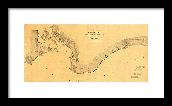 Map Of Galveston Bay Framed Print featuring the photograph Map Of Galveston Bay 1851 by Andrew Fare