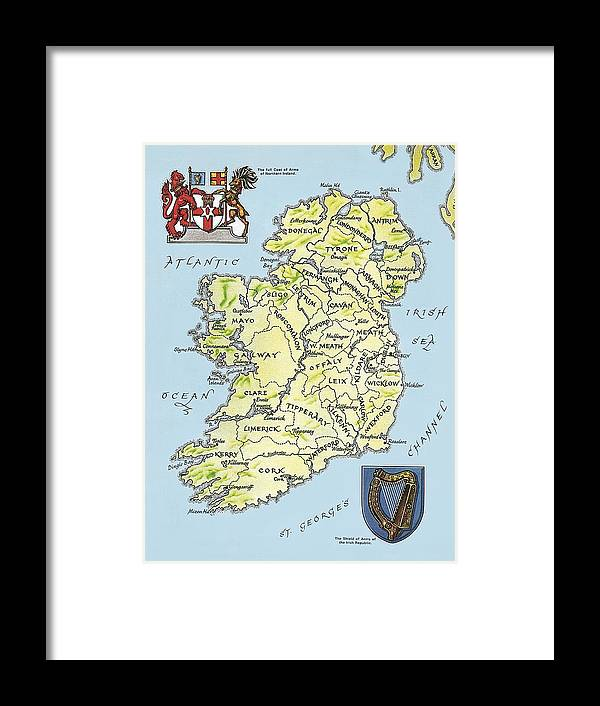 Print Map Of Ireland.Map Of Ireland Framed Print