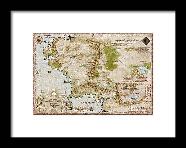 Map Of Middle Earth Framed Print by Anthony Forster