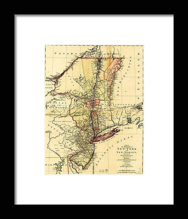Reproduction Framed Print featuring the drawing Map Of New York And New Jersey by Pg Reproductions