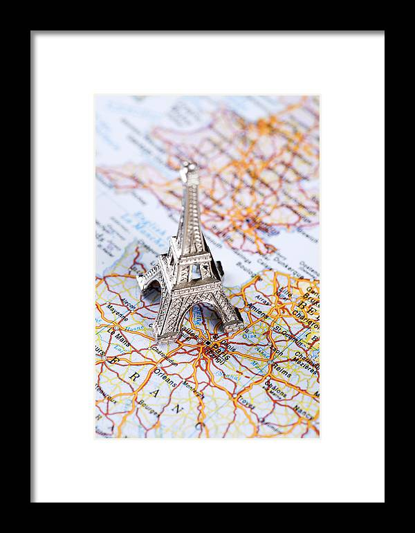 Map Of France Eiffel Tower.Map Of Paris France With Eiffel Tower Framed Print
