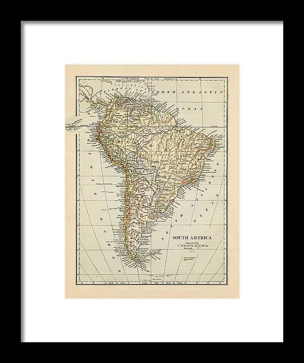 Burnt Framed Print featuring the photograph Map Of South America 1875 by Thepalmer