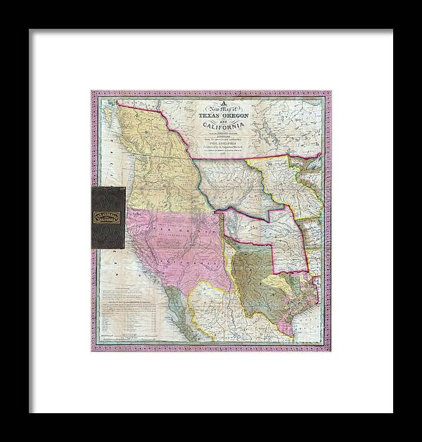 Map Of Texas Oregon And California Framed Print By Paul Fearn