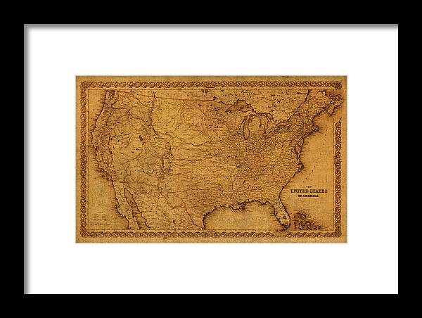 Map Of United States Of America Vintage Schematic Cartography Circa Framed Map Of United States on
