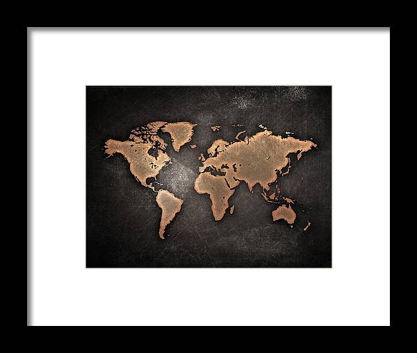 Map Framed Print featuring the painting Map The Continents Grunge by Tian Chen
