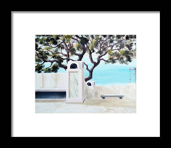 Landscape Framed Print featuring the painting Marble Courtyard by Scott Alcorn